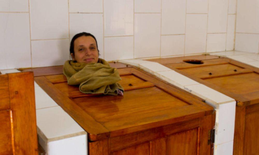 Boîte de sauna à vapeur aux Baños de Agua Santa