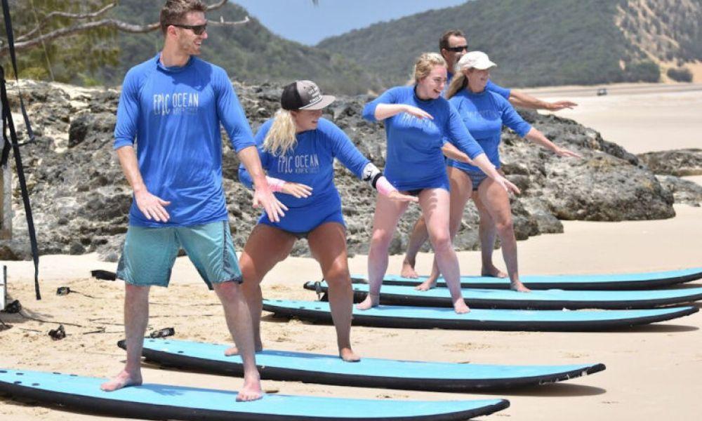 Pendant la classe de surf