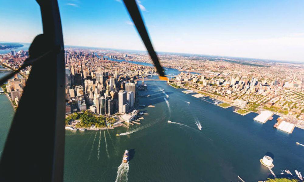 Le fleuve Hudson depuis l'hélicoptère