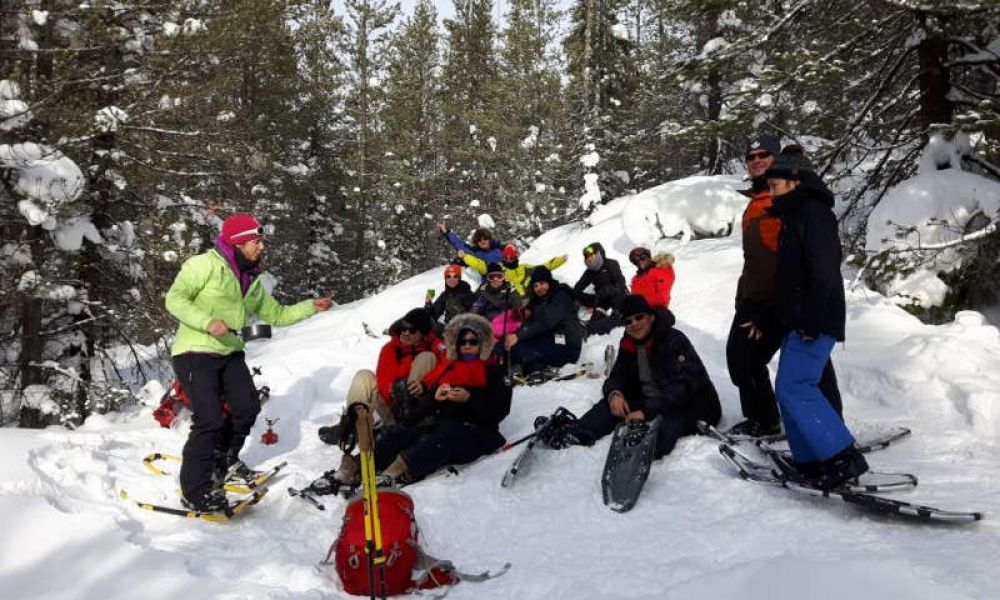 Un groupe qui profite des raquettes à neige
