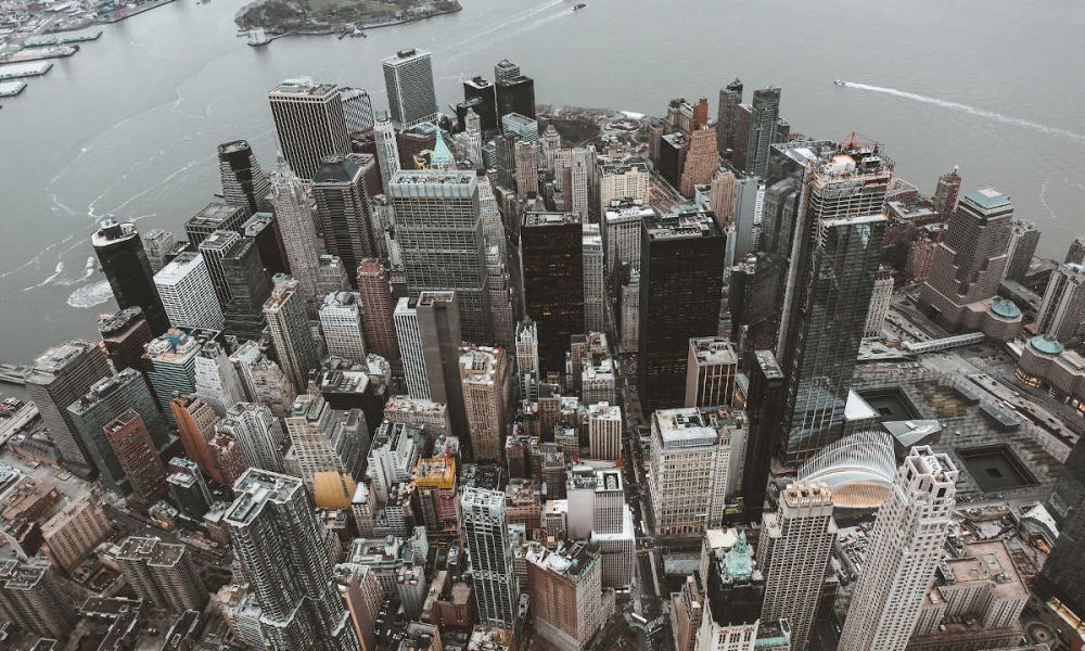 Vue aérienne des gratte-ciels