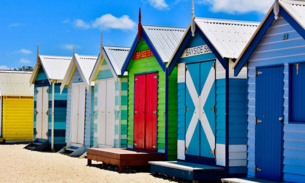 Maisonnettes de couleurs sur la plage Mount Martha